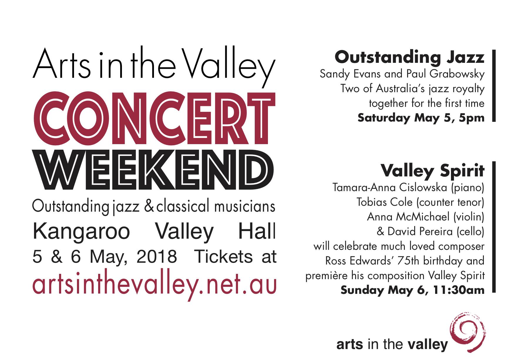 Arts in the Valley Concert Weekend @ Kangaroo Valley
