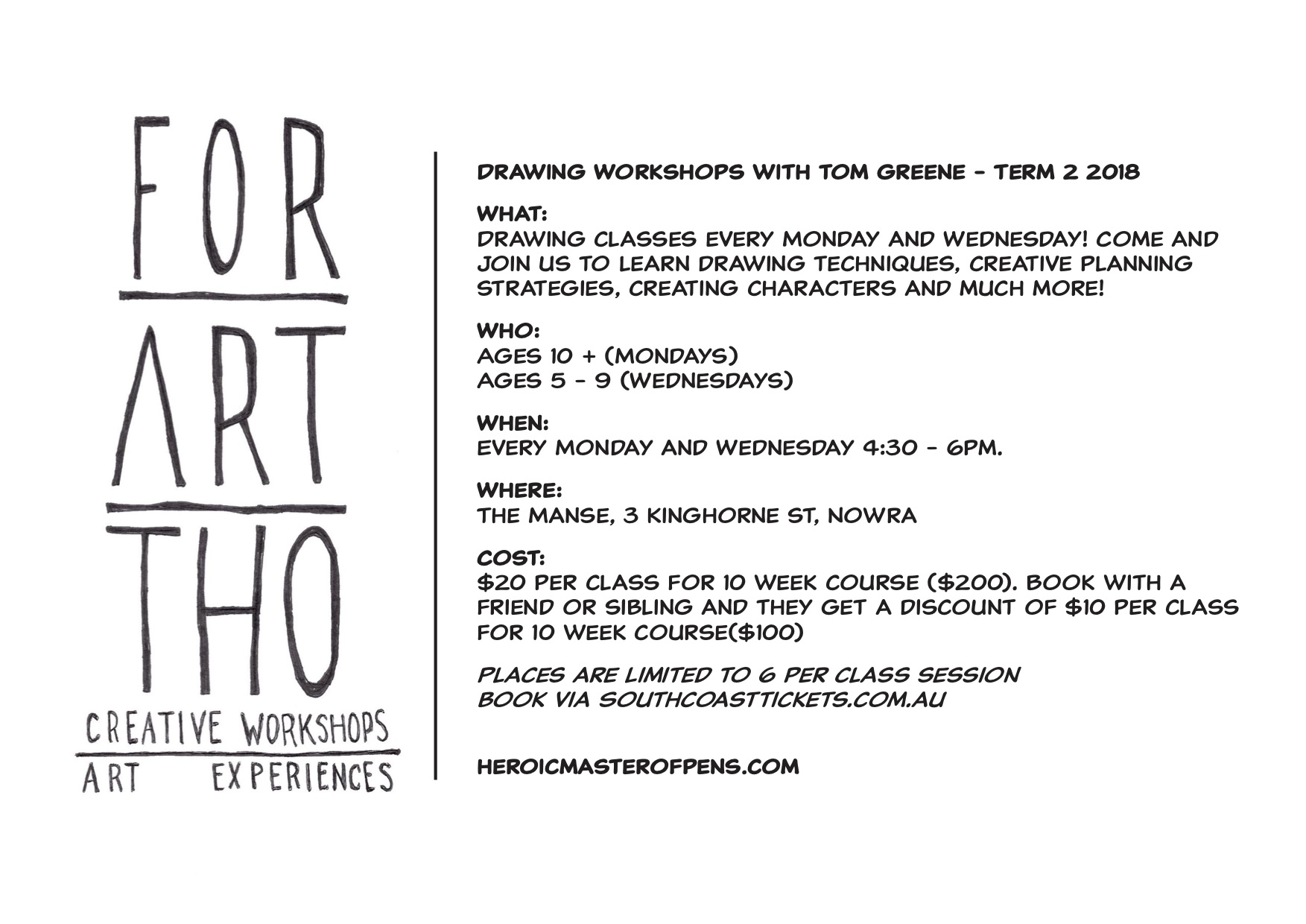 Drawing Workshop Sessions With Tom Greene - Term 2/2018