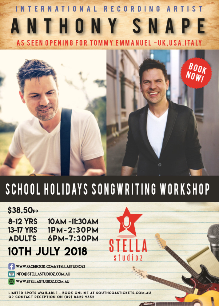 School Holidays Songwriting Workshop with Anthony Snape @ Stella's
